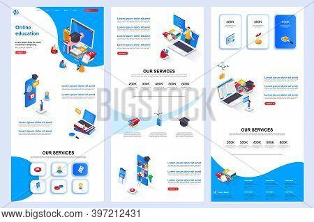 Distance Education Isometric Landing Page. Online Learning Platform Corporate Website Design Templat