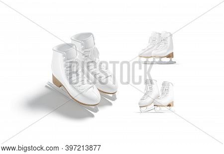 Blank White Ice Skates With Blade Mockup Pair, Different Views, 3d Rendering. Empty Sportive Figure