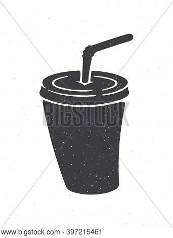 Silhouette Of Disposable Paper Cup With Soda And Straw. Vector Illustration. Cartoon Glass With Carb