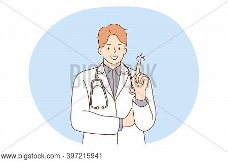 Doctor, Medicine, Healthcare Concept. Young Smiling Man Doctor Therapist In White Uniform Cartoon Ch
