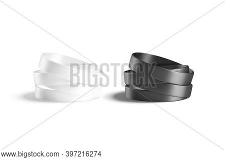 Blank Black And White Silicone Wristband Stack Mockup, Isolated, 3d Rendering. Empty Circlet Solidar