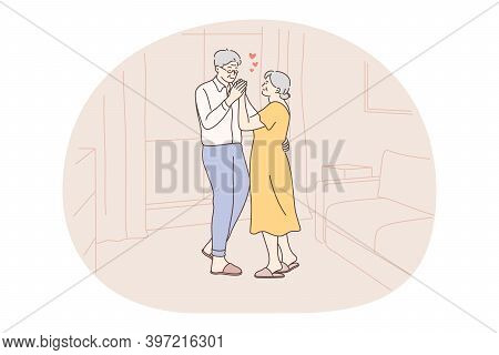 Senior Elderly Couple Living Happy Active Lifestyle Concept. Mature Aged Couple Pensioners Woman And