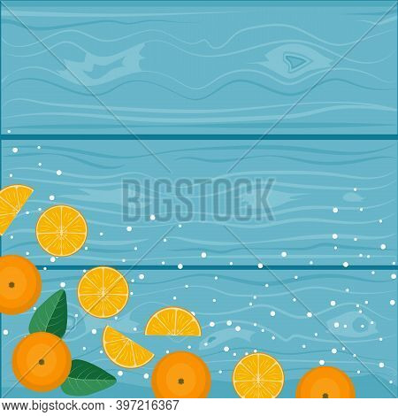 New Year And Christmas Background. Orange Tangerines On A Turquoise Wooden Background, Place For Tex