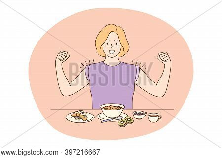 Healthy Food, Clean Eating, Nutrition Concept. Young Positive Woman Cartoon Character Feeling Powerf