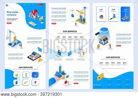 Real Estate Company Isometric Landing Page. Rental Property, Buy, Sale And Mortgage Corporate Websit