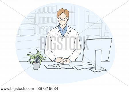 Doctor, Medicine, Healthcare Concept. Young Smiling Man Doctor In White Uniform Cartoon Character Si