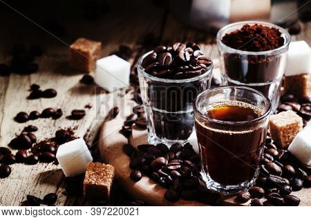 Black Coffee, Ground Coffee, Robusta Coffee Beans, Steel Italian Coffee Maker, Pieces Of White And B