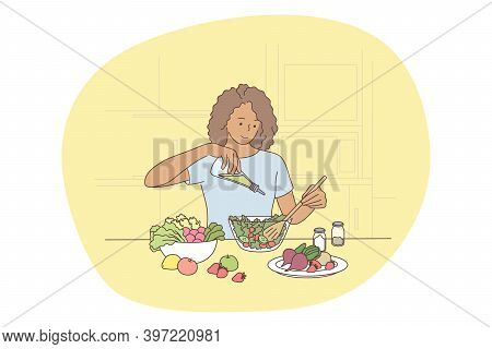 Healthy Food, Clean Eating, Nutrition Concept. Young Positive Woman Cartoon Character Cooking Fresh
