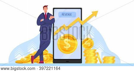 Income Growth, Return On Investment Or Revenue Increase Vector Illustration With Millionaire, Smartp