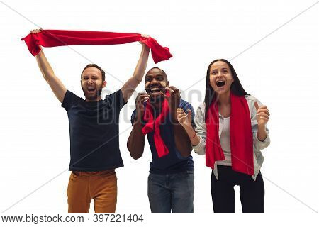 Celebration. Multiethnic Soccer Fans Cheering For Favourite Team With Bright Emotions Isolated On Wh