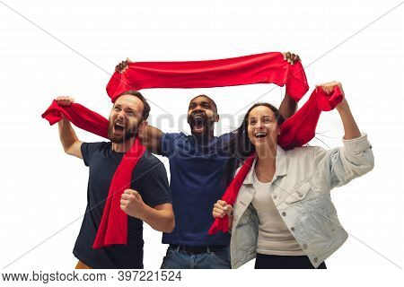 Patriotic. Multiethnic Soccer Fans Cheering For Favourite Team With Bright Emotions Isolated On Whit