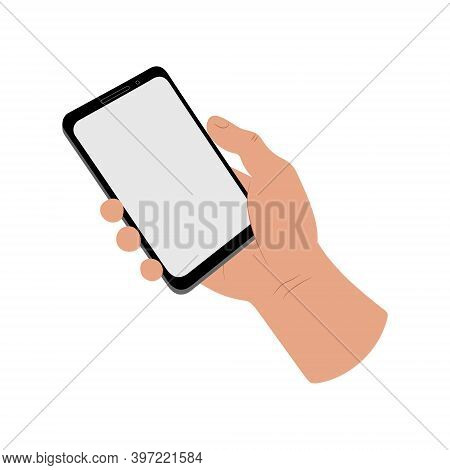 Human Hand Holding A Smartphone. A Person Using A Mobile Phone Gadget. Blank Screen Place For Text C