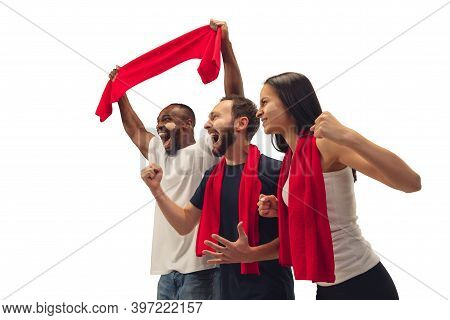 Emotion. Multiethnic Soccer Fans Cheering For Favourite Team With Bright Emotions Isolated On White
