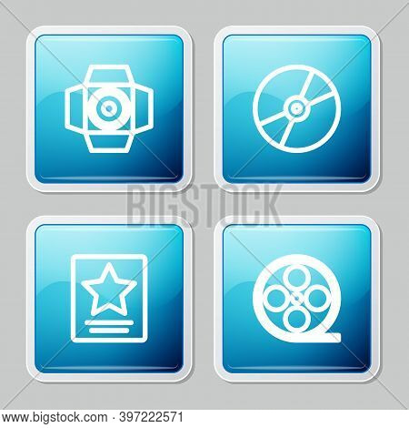 Set Line Movie Spotlight, Cd Or Dvd Disk, Hollywood Walk Of Fame Star And Film Reel Icon. Vector