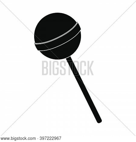 Lollipop Silhouette Illustration. Round Black Popsicle. Vector Isolated On White Background. Lolly S