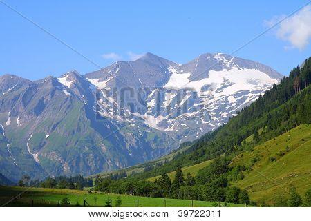 Mountains in Austria. Hohe Tauern National Park Glocknergruppe range of mountains. Mountain peaks: Sonnenwelleck Fuscherkarkopf and Johannisberg. poster