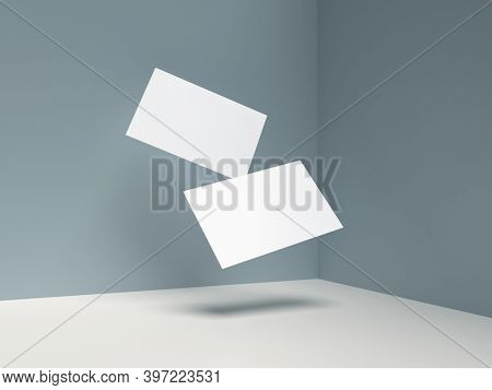 Two Floating Paper Business Cards Mockup on Minimalist Modern Background. 3D rendering.