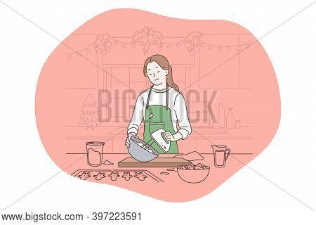 Cooking, Baking, Recipe Concept. Young Smiling Woman Cartoon Character In Apron Standing And Mixing