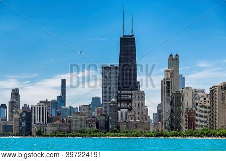 Chicago Skyline At Sunny Summer Day From Lake Michigan, Chicago, Illinois, Usa.