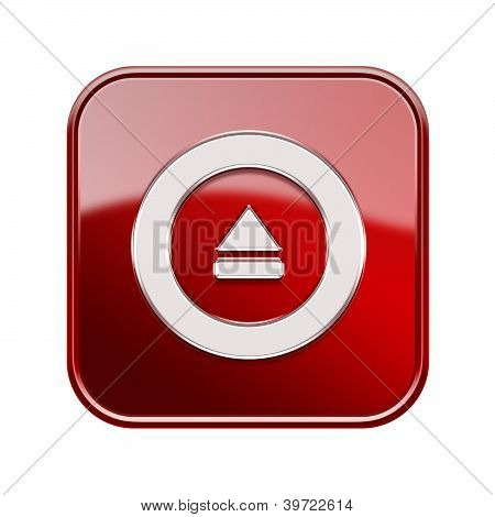 Eject Icon Glossy Red, Isolated On White Background