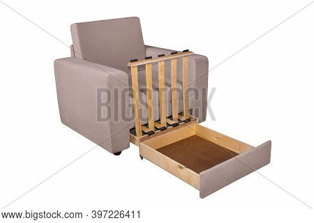 45 Degrees View Of Unfolded Light Brown Armchair Furniture. Isolated On White Background