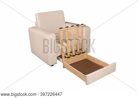 45 Degrees View Of Unfolded Light White Leather Armchair Furniture. Isolated On White Background