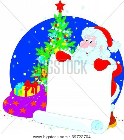 Santa Claus with announcement