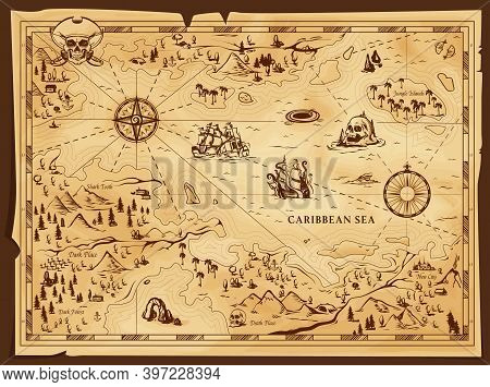 Old Pirate Map, Vector Worn Parchment With Jolly Roger In Tricorn, Caribbean Sea, Islands And Land,
