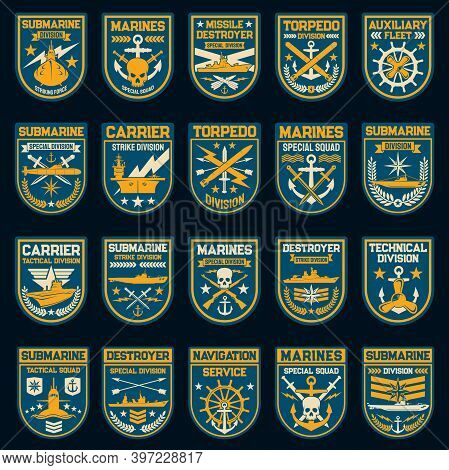 Navy Or Naval Force Vector Patches And Badges. Nautical Anchor, Submarine, Military Ship And Helm, S