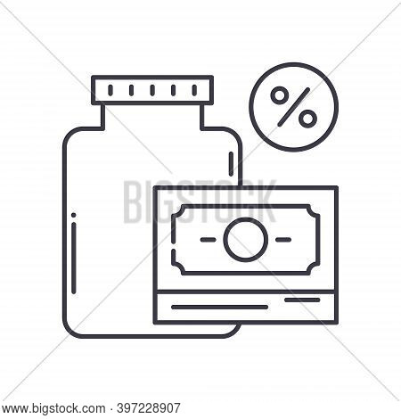 Gross Income Icon, Linear Isolated Illustration, Thin Line Vector, Web Design Sign, Outline Concept