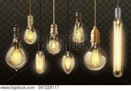 Light Bulbs On Transparent Background Realistic Vector Design. Glowing Lamps Of Hanging Filament Or