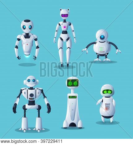 Modern Robot Cartoon Characters With Vector Ai Machines Or Artificial Intelligence Toys. Future Tech