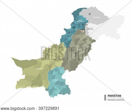 Pakistan Higt Detailed Map With Subdivisions. Administrative Map Of Pakistan With Districts And Citi