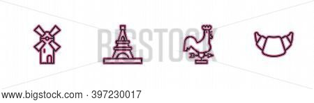 Set Line Windmill, Rooster Weather Vane, Eiffel Tower And Croissant Icon. Vector