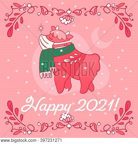 Happy 2021 - Greeting Card With Cute Ox Character In Mask And Scarf. Christmas Greeting Banner For S