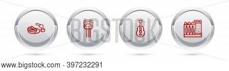 Set Line Churros And Chocolate, Peineta, Spanish Guitar And Dali Museum. Silver Circle Button. Vecto