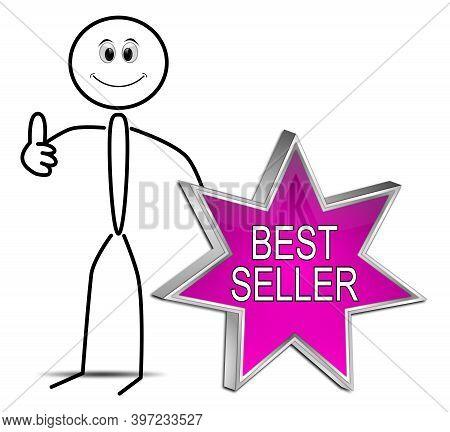 Stickman With Purple Bestseller Button - 3d Illustration