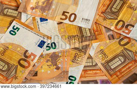 Euro Money Of European Union, 50 Euro Banknotes Background, Face Value 50 Euros,