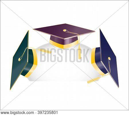 Set Of Three Graduation Student Hats With Golden Elements. Jpeg