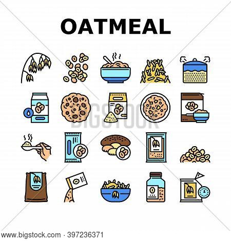 Oatmeal Nutrition Collection Icons Set Vector. Oat And Flour Bag, Cookies And Milk, Bar And Oatmeal