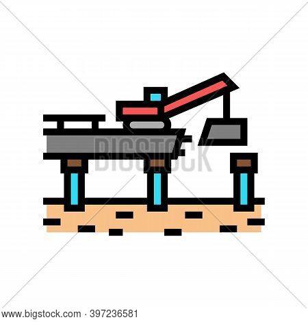 Bridge Building Color Icon Vector. Bridge Building Sign. Isolated Symbol Illustration
