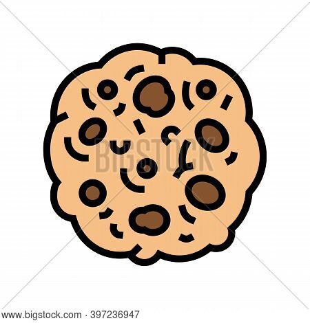 Cookie Oatmeal Color Icon Vector. Cookie Oatmeal Sign. Isolated Symbol Illustration