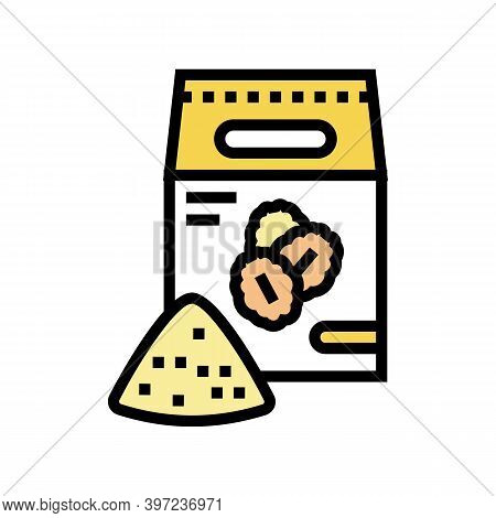 Flour Oat Bag Color Icon Vector. Flour Oat Bag Sign. Isolated Symbol Illustration