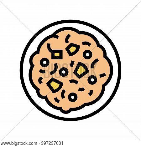 Poridge Oatmeal In Bowl Color Icon Vector. Poridge Oatmeal In Bowl Sign. Isolated Symbol Illustratio