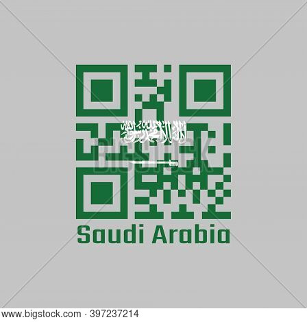 Qr Code Set The Color Of Saudi Arabia Flag, A Green Field With The Shahada Or Muslim Creed Written I