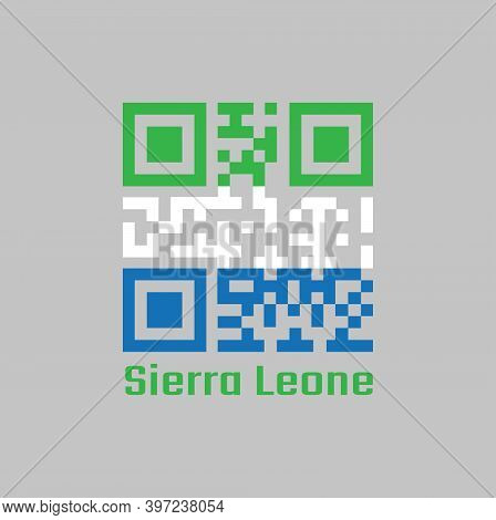 Qr Code Set The Color Of Sierra Leone Flag, A Horizontal Tricolor Of Light Green, White And Light Bl