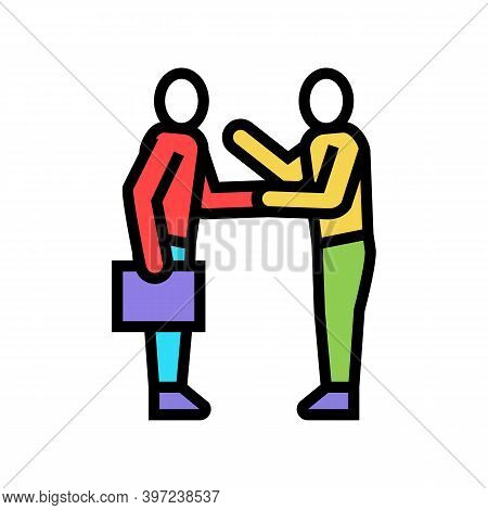 Businesspeople Greeting And Discussing Color Icon Vector. Businesspeople Greeting And Discussing Sig