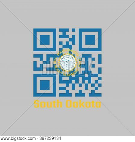 Qr Code Set The Color Of South Dakota Flag. The States Of America. The Sun On Sky Blue With Surround