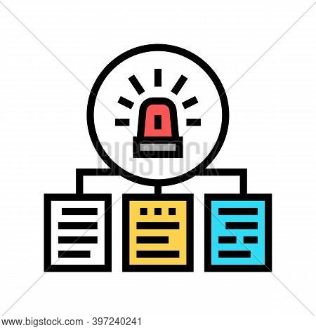Documentation With Incidents Color Icon Vector. Documentation With Incidents Sign. Isolated Symbol I