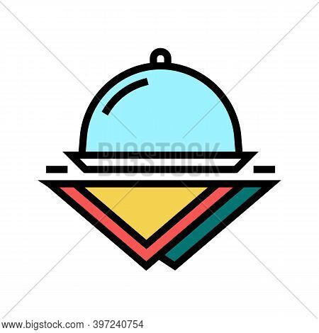 Tray And Napkins Color Icon Vector. Tray And Napkins Sign. Isolated Symbol Illustration